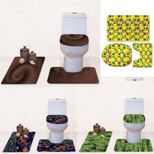 3 PCS Toilet Cover Set Bathroom Shower Rug Warm Flannel Carpet Washable Mats