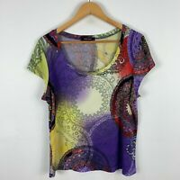 Baker Street Womens Top XL Extra Large Multicoloured Short Sleeve Round Neck
