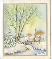 VINTAGE CHRISTMAS GLITTER VICTORIAN CHURCH SNOW BRIDGE STREAM TREE GREETING CARD
