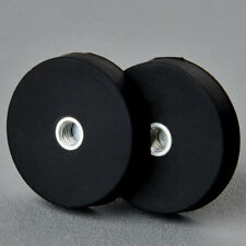 2PC Anti-scratch Neodymium Rubber Costed Pot Magnet 12KG Internal Thread Hole M4