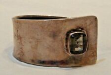 Vintage Mexican Sterling Silver with Glass Stone Accent Chunky Cuff Bracelet