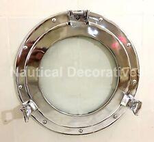 "15"" Porthole Window Glass Aluminum Chrome ~ Ship Cabin Porthole ~ Nautical Decor"