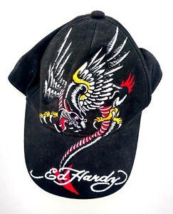 Ed Hardy Kids Black Embroidered Roaring Eagle Tiger Baseball Strapback Cap Hat
