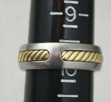 DAVID YURMAN Man's Titanium 18k 750 Yellow Gold Cable Inset Band Size 9.75