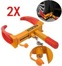 X2 H/DUTY WHEEL CLAMP ANTI-THEFT LOCK CARAVAN TRAILER SECURITY + 2 KEYS  NEW