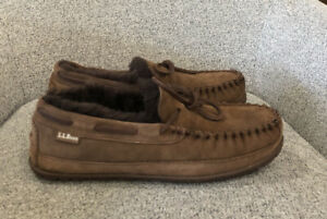 L.L. Bean Men's Wicked Good Moccasin Slippers Chocolate Brown Size 9 US $79