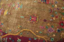Antique Chinese Art Deco Oval Rug Size 5'9''x8'9''