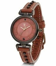 FRYE WOMENS BURGUNDY AGED STAINLESS STEEL JAPANESE QUARTZ LEATHER WATCH - NIB