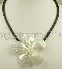 Handmade Choker White Shell Flower Shell Pearl leather Necklace 18''