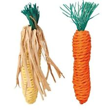 2 Pcs Pet Chew Toy Straw Carrot + Corn On The Cob For Hamster Rabbit Rat -TRIXIE