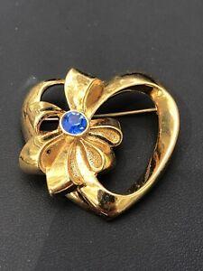 Signed Avon Blue Rhinestone Bow Goldtone Heart Vintage Brooch Pin