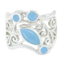 Chalcedon Ring  925 Sterling Silber Ring blauen Ring  sexy Schmuck Edelsteine DE