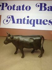 VINTAGE SOLID BRASS COW BANK GREAT CONDITION AND PATINA