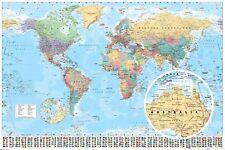 Colorido Mapa Del Mundo con Banderas Maxi Póster 61 X 91.5cm GN0214