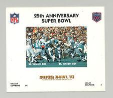 St Vincent #1405 Football Super Bowl VI 1v M/S of 2 Imperf Chromalin Proof