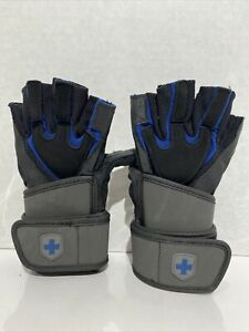 Harbinger BioForm WristWrap Glove Size Medium, Heavy Lifting Blue/Black Leather