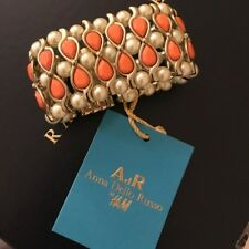 ANNA DELLO RUSSO FOR H&M GOLD ORANGE PEARL BRACELET CUFF