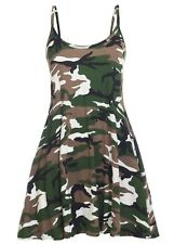 New women's army camouflage bottom flared cami dress long strappy vest top 8-26