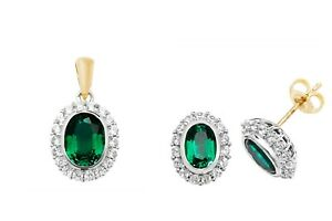 Emerald Pendant and Earrings Set Solid Yellow Gold White Sapphire British Made