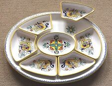 Deruta Pottery-8 pieces antipasto set Raffaellesco.Made/Painted by hand in Italy
