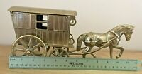 "Vintage Brass horse and Gypsy caravan,Romany 12""x 5"" Heavy weight 1.606 kg"