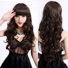 Long Wavy Black Brown Cosplay Wig Synthetic Curly Women Hair Lolita with Bang