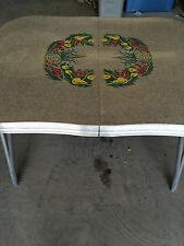Vintage 1950s Dinette Dining Table Room Kitchen Chrome Frame Engraved Formica