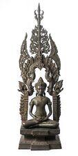 "Antique Thai Style Enthroned Lopburi Meditation Buddha Statue - 96cm/38"""
