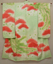 19360 Japanese Vintage Lady's Furisode Kimono Peacock and Pine trees Pattern