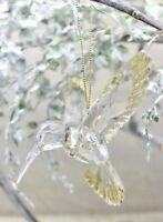 GISELA GRAHAM CHRISTMAS CLEAR ACRYLIC GOLD GLITTER HUMMING BIRD DECORATION