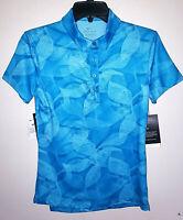 Womens Nike Dri-Fit UV Protection Golf Polo Shirt Blue Short Sleeve New NWT XS