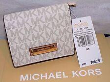 Authentic MICHAEL KORS MK Vanilla Signature Jet Set carryall card case wallet NT