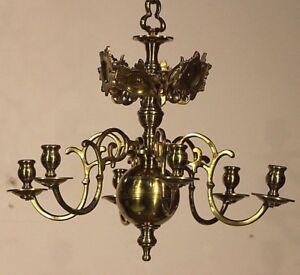 Antique heavy solid bronze Baroque candle chandelier provincial candelabra 1800s