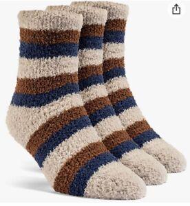 YoLBer Women's Striped Fluffy Quarter Fuzzy Socks - 3 Pairs, small  Nude Beige