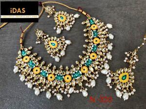 Indian Meena Kundan Gold Tone Yellow Choker Necklace Earrings Tikka Jewelry Set