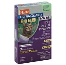 Hartz Ultra Guard Plus Flea And Tick Drops For Cats 5 Lbs & Over 3 Months Supply