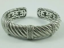"""Bold Judith Ripka Sterling Silver Diamonique Textured Cable Cuff Bracelet 7"""""""