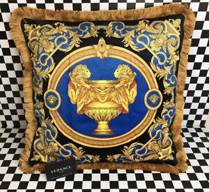 Versace Pillow Case Cobalt Blue Classic Luxury So Nice 20x20 NOS Velour Silk