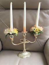 Vintage Triple Candelabra Retro Silver Plate Candles Silk Flowers Bridal Wedding