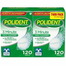240CT Antibacterial Denture Cleaner Polident 3-Minute Daily Cleanser Triple-Mint