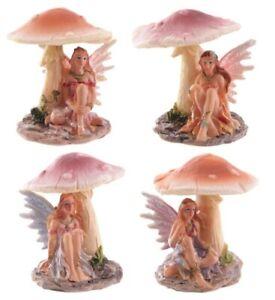 Sweet Flower Fairy Figure Sitting Resting Under Mushroom !FREE UK P&P!