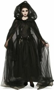 Black Hooded Cape Adult Costume Accessory NEW Witch
