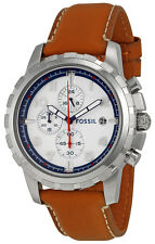 Fossil FS5069 Dean Silver Dial Tan Leather Strap Chronograph Men's Watch