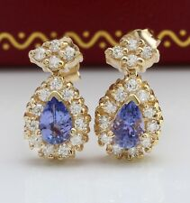 1.75 Carat Natural Tanzanite and Diamond in 14K Solid Yellow Gold Stud Earrings