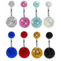 1PC Unisex Double Crystal Balls Belly Button Ring Navel Piercing Body Jewelry