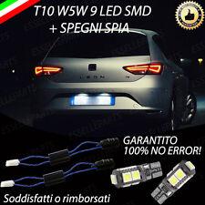 COPPIA LUCI TARGA 9 LED SEAT LEON dal 2013 in poi T10 + SPEGNI SPIA NO AVARIA