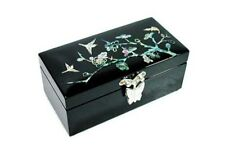 Mother of Pearl Black  Flower Jewelry Box - apricot