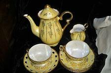 Vintage Tea /Coffee Pot Set Pierced Gilded Iridescent Pearlized Porcelain 9pcs.