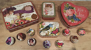Vintage Retro Metal Storage Tins Heart Cat Bird Butterfly Tin Pill Trinket Roses