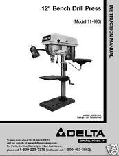 """Delta  12"""" Drill Press Instruction Manual #11-990"""